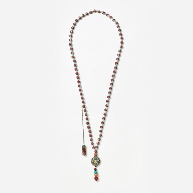 neckpiece with spiral and buddha beads