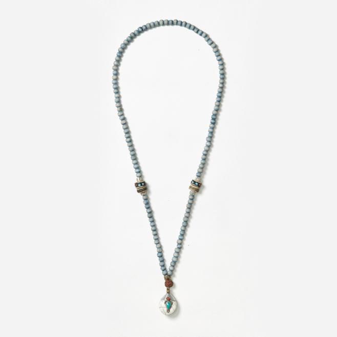 beaded neckpiece with drop pendant