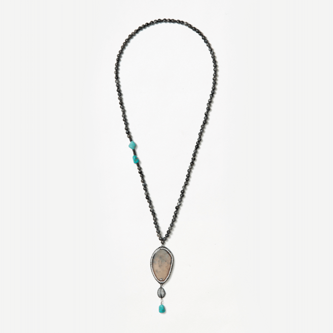 beaded neckpiece with agate and turquoise