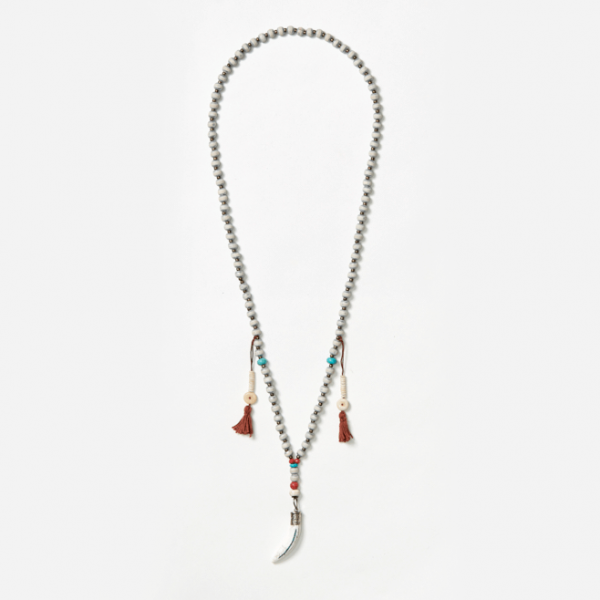 beaded neckpiece with tusk and tassels