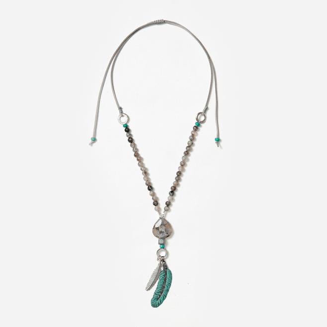 double feather bead neckpiece