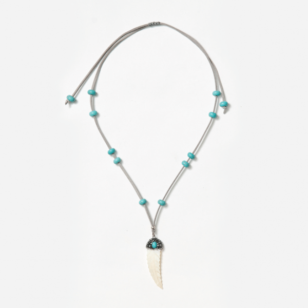 adjustable neckpiece with white feather