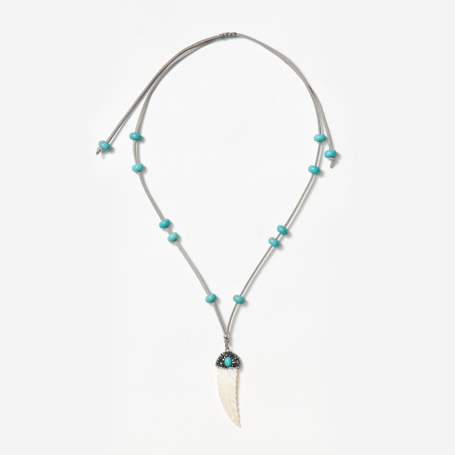 adjustable neckpiece with white feather