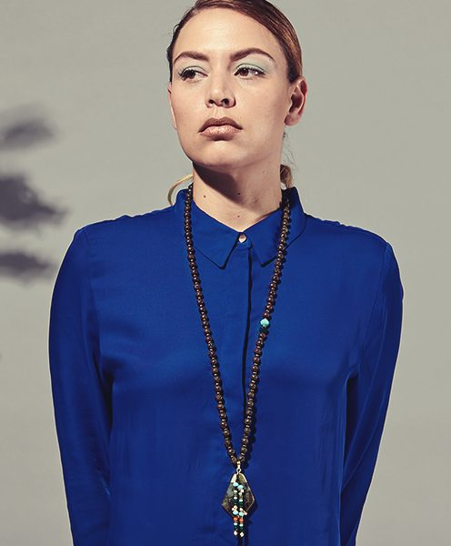 lava beads with dark green pendant necklace lifestyle