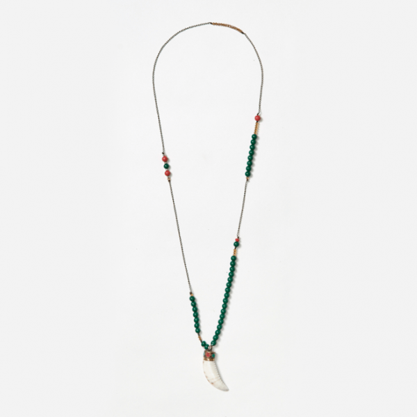 chain and beaded neckpiece with tibetan shell