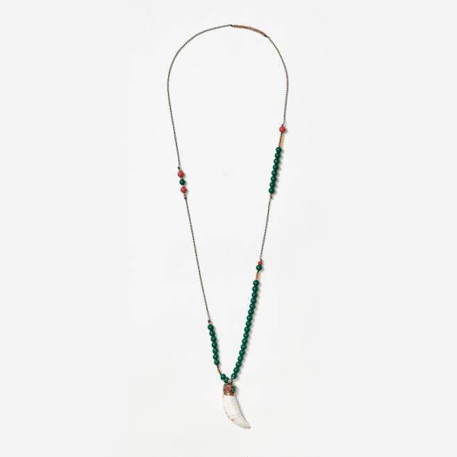 chain and beaded neckpiece with tibetan shell