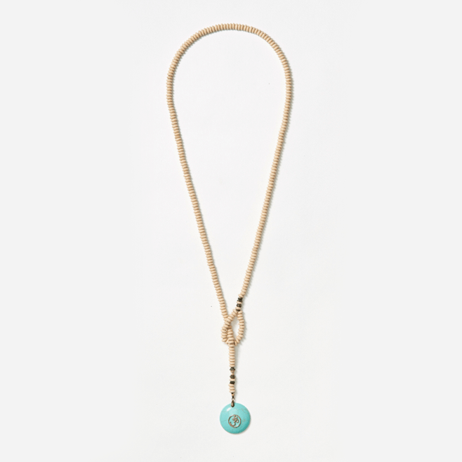 cream wood beads long necklace with turquoise pendant