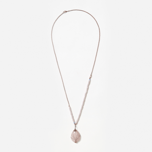 rose quartz on bead and chain neckpiece