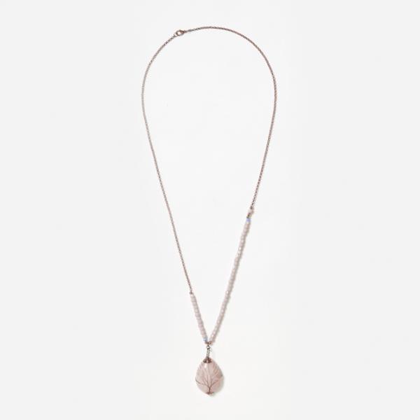 rose quartz on bead and chain neckpiece