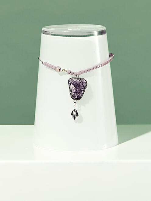 purple druzy and silver cowrie shell with lilac crystal beads and silver chain lifestyle