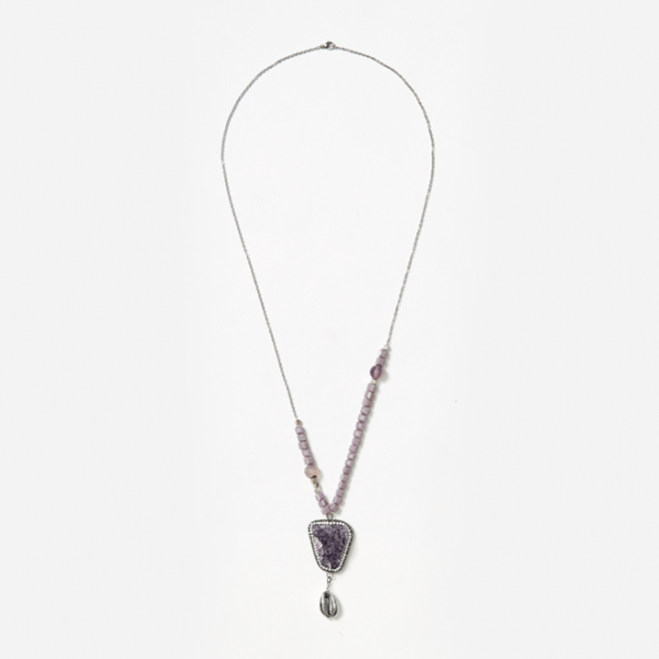bead and chain neckpiece with amethyst
