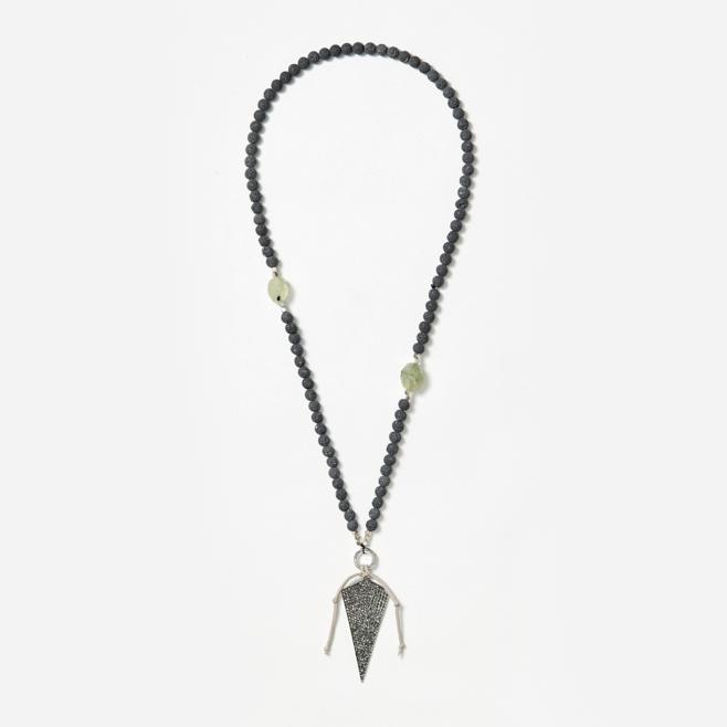 beaded neckpiece with rhinestone spear