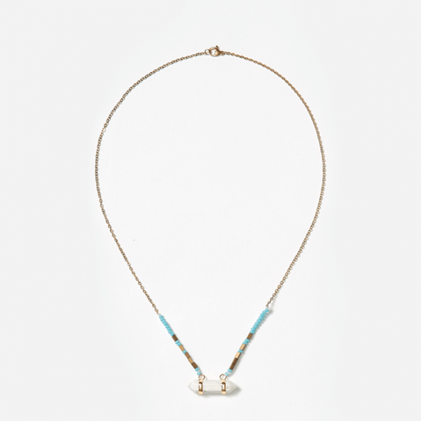 point pendant with turquoise beads on gold chain