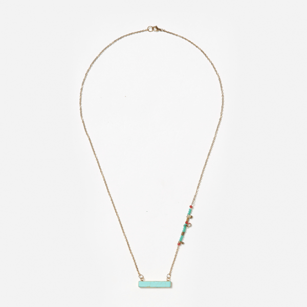 horizontal turquoise pendant on chain