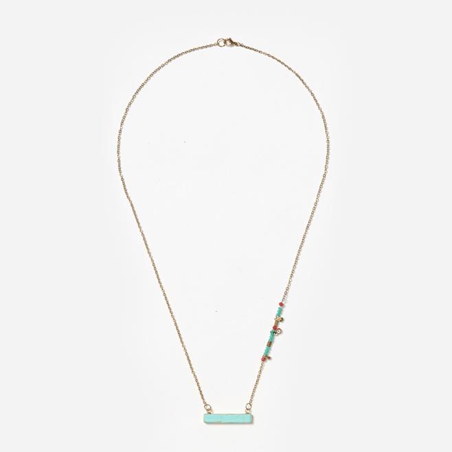 horizontal turquoise pendant on chain