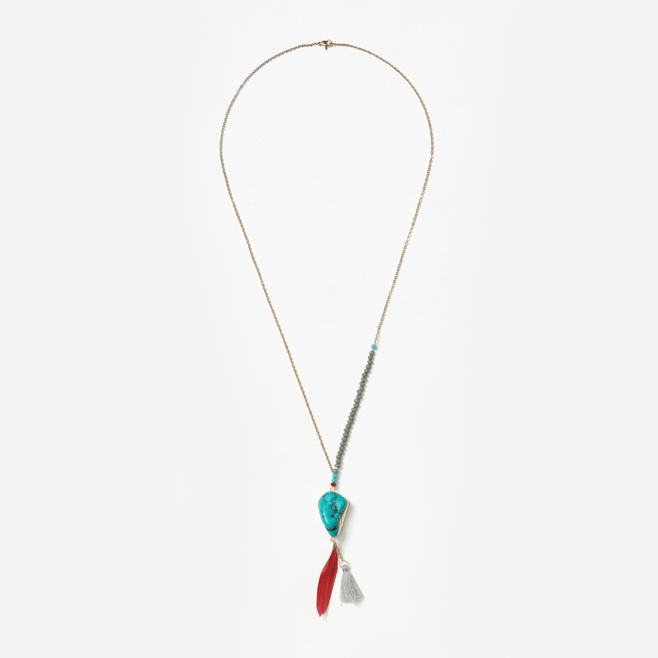 turquoise nugget feather and tassel on gold chain with crystal beads