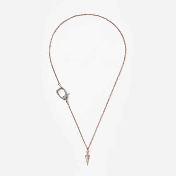 rosegold rhinestone clasp and arrowhead on short rosegold chain
