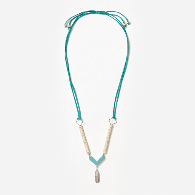 feather and turquoise pendant on cream zigzag beads and adjustable suede