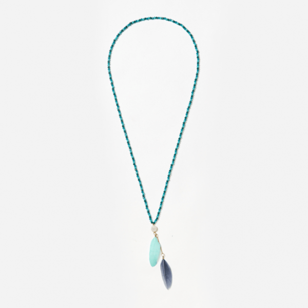 blue feathers with 24K gold connector on crystal beads