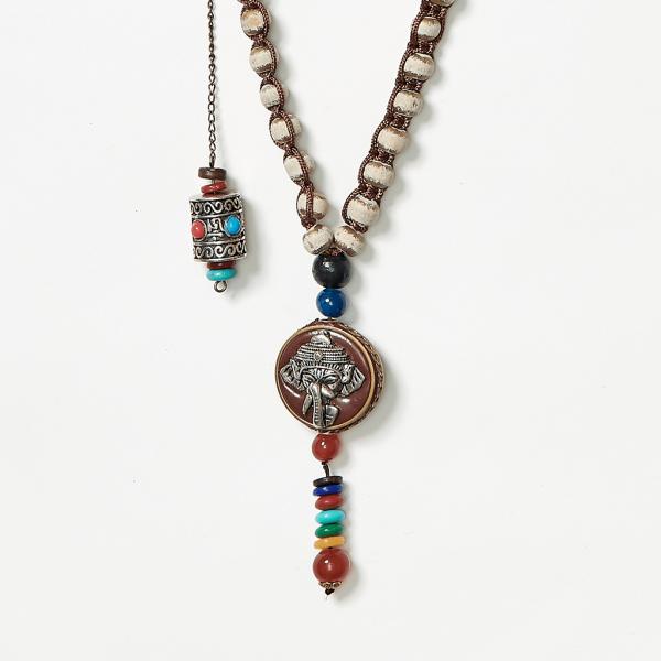 neckpiece with elephant and scroll beads