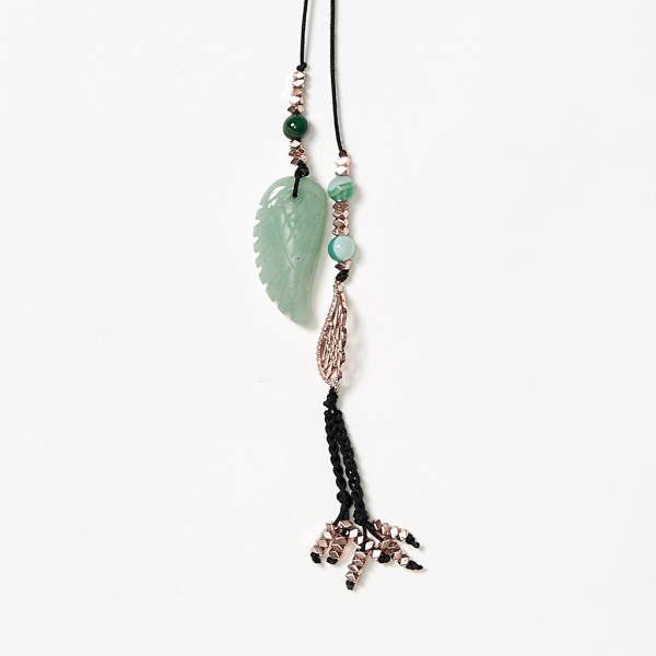 rosegold and jade leaf cord neckpiece