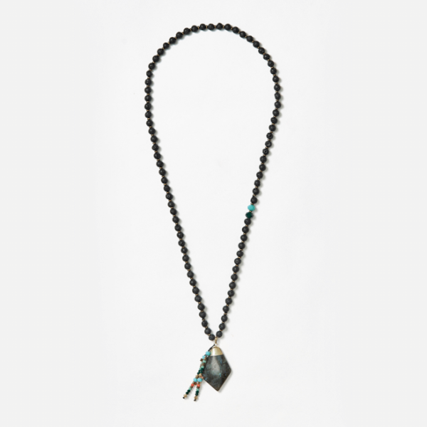 beaded neckpiece with dark green pendant