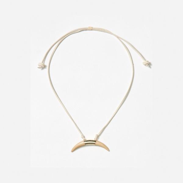 Adjustable Cream Crescent Horn Neckpiece