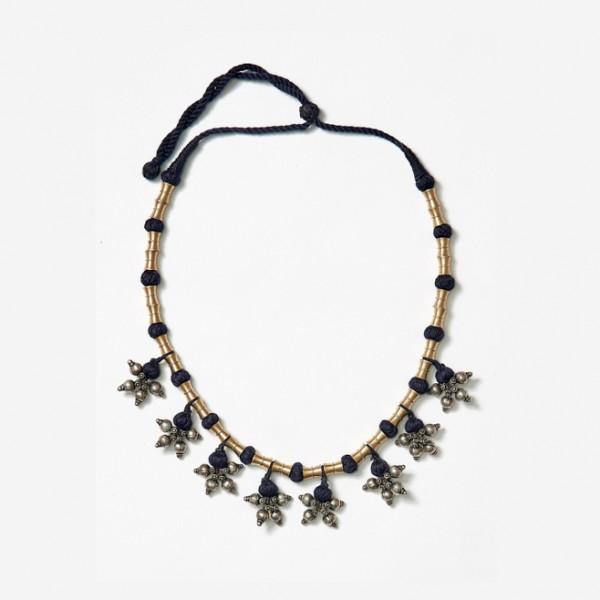 Dark Blue Neckpiece with Brass Beads