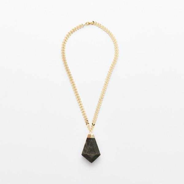 Dark Green Pendant on Gold Leaf Chain
