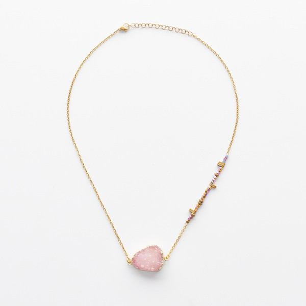 Pink Druzy Pendant on Beads and Chain