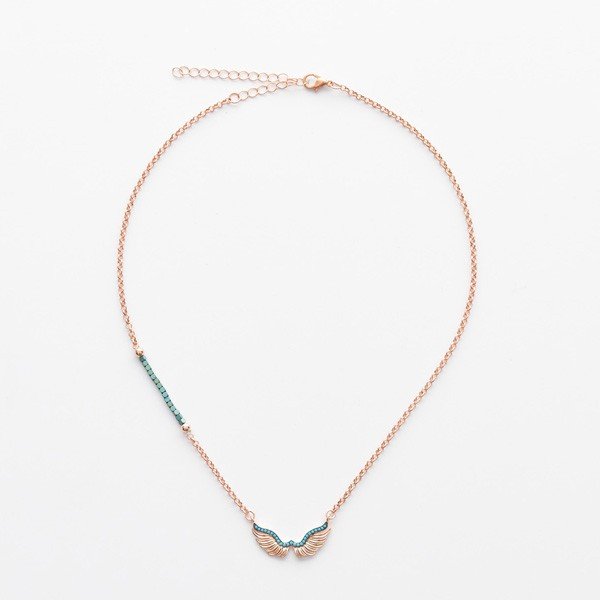 Rosegold Angel Wing on Beads and Chain