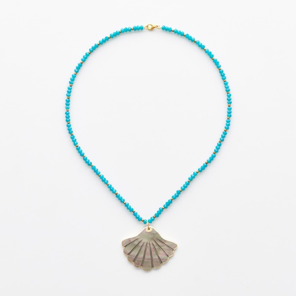 Shell Pendant on Turquoise Beads