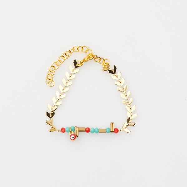 Adjustable Bracelet with Bead Insert and Gold Chain