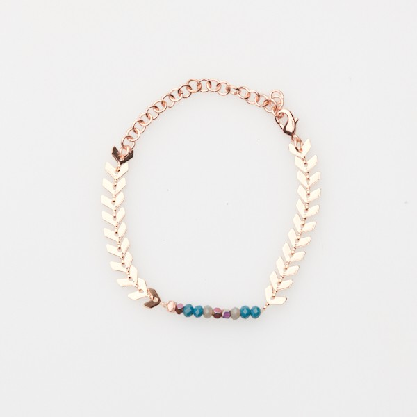 Adjustable Bracelet with Bead Insert and Rosegold Chain