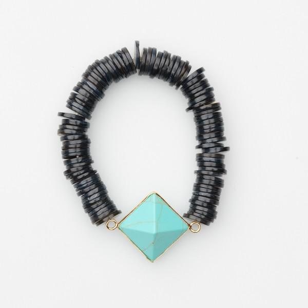 Bracelet with Diamond Shaped Stone and Shell Beads