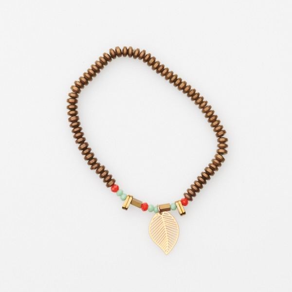 Bracelet with Bead Insert, Leaf and Bronze Beads