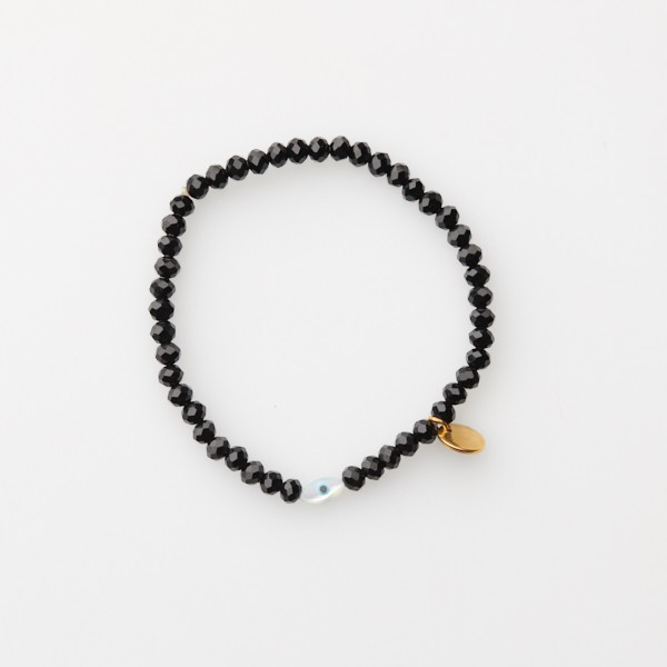 Bracelet with Gold Disc, Evil Eye and Glass Beads