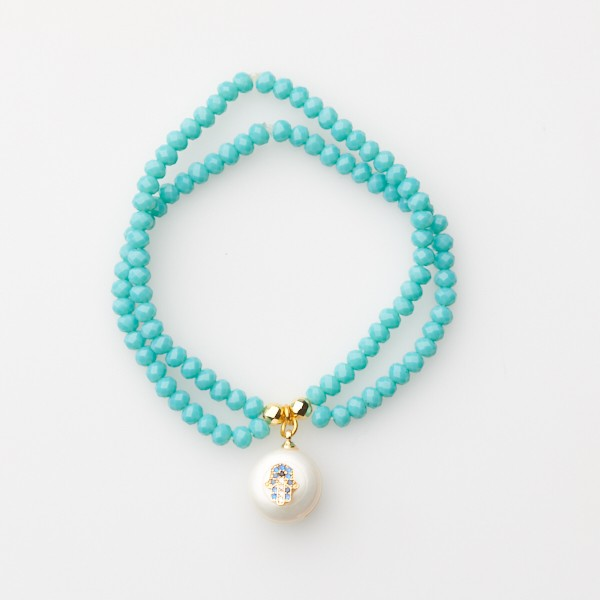 Bracelet with  Hamsa and Double Strand Glass Beads
