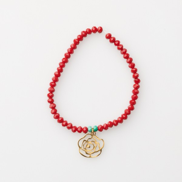 Bracelet with Flower Charm and Glass Beads
