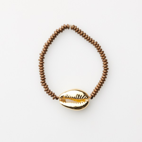 Bracelet with Shell and Bronze Beads