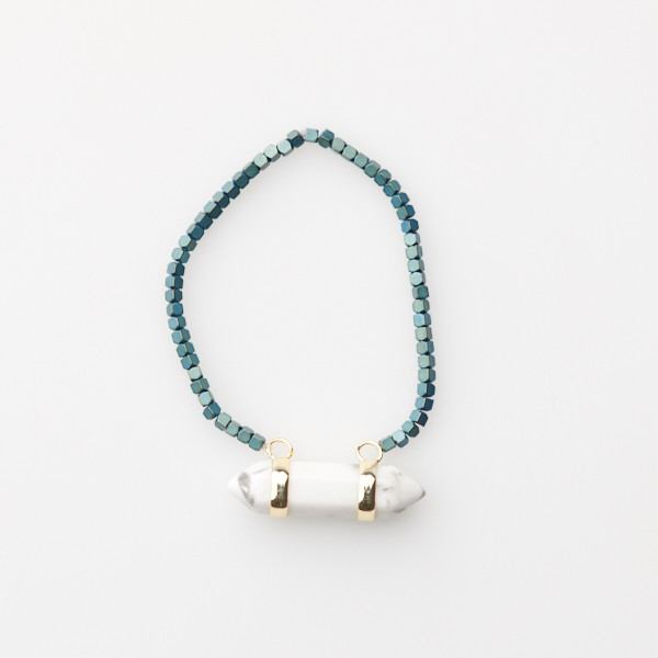 Bracelet with Marbled Pendant and  Teal Beads