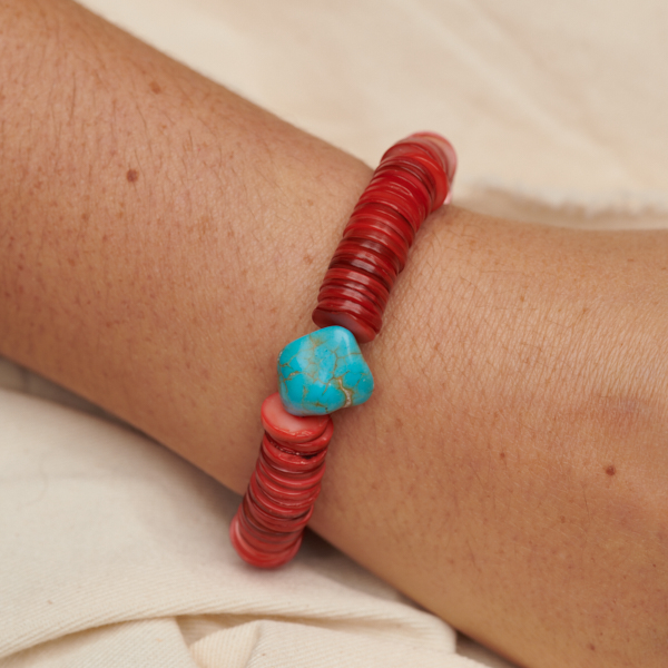 Bracelet with Nugget and Shell Beads