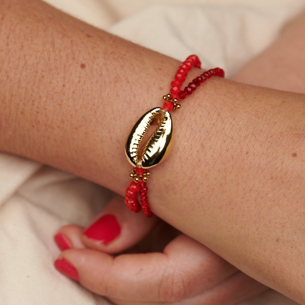 Bracelet with Shell and Double Strand Glass Beads
