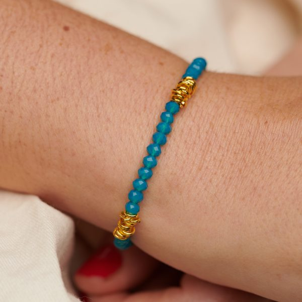 Bracelet with Jumprings and  Blue Glass Beads