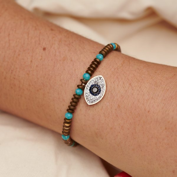 Bracelet with Evil Eye,Bronze and Glass Beads