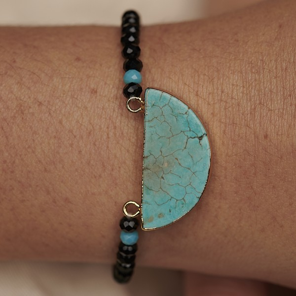 Bracelet with Half Moon Stone and Glass Beads