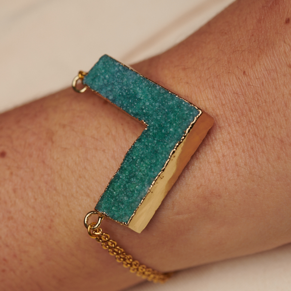 Adjustable Bracelet with Druzy and Chain