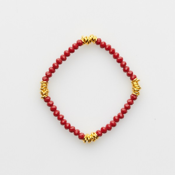 Bracelet with Jumprings and  Red Glass Beads
