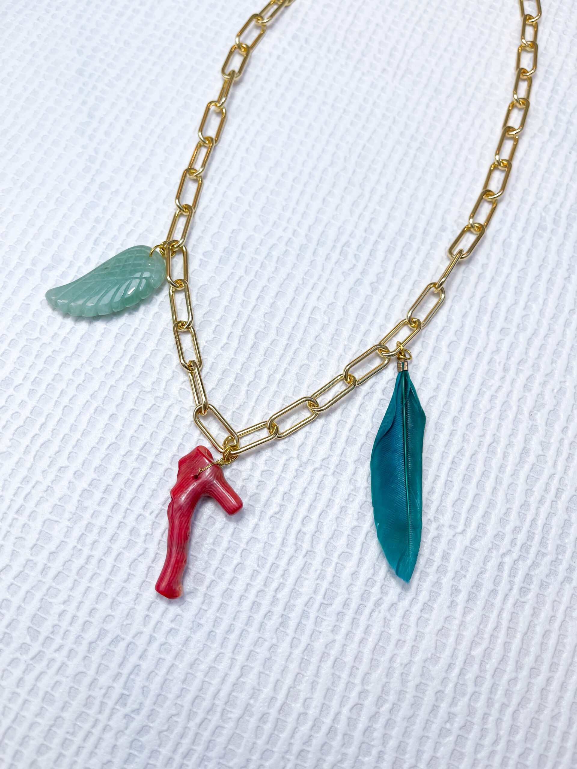 Chain Neckpiece with Angel Wing, Coral and Feather