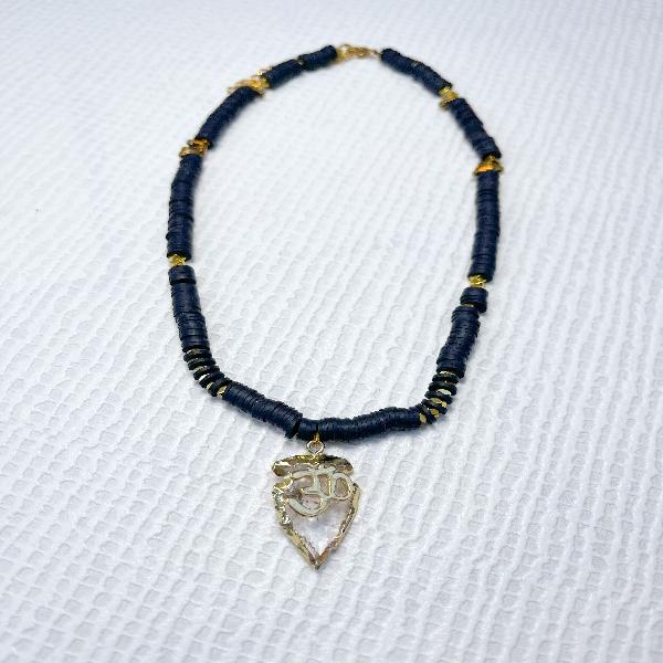 Bead Neckpiece with Zen Symbol Pendant